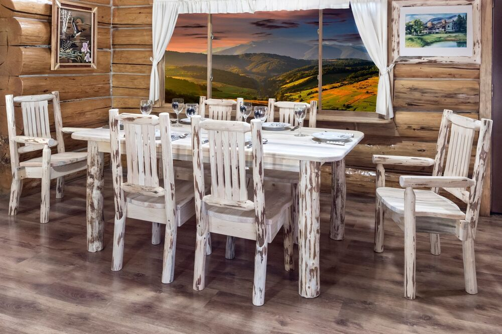 log dining room furniture   Rustic LOG Dining Room Set 6 foot Table Six Chairs Amish ...