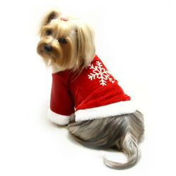 Klippo Dog Clothes Velour Holiday Shirt with Sparkling Silver Snowflake  XS-XL