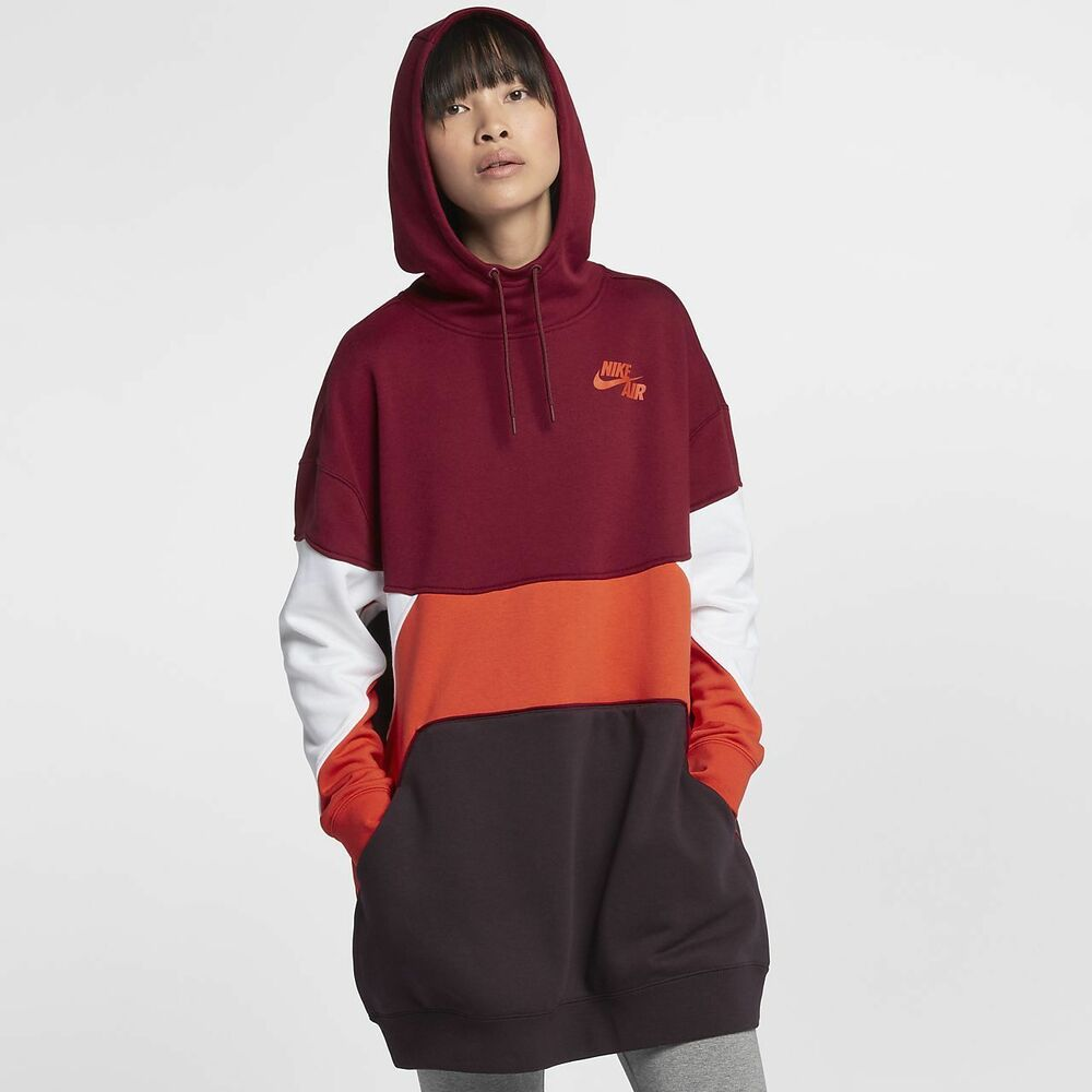 Details about `Nike Air Women s Oversized Hoodie Dress M Red White Orange  Gym Casual Lounge. ` f78101cc0