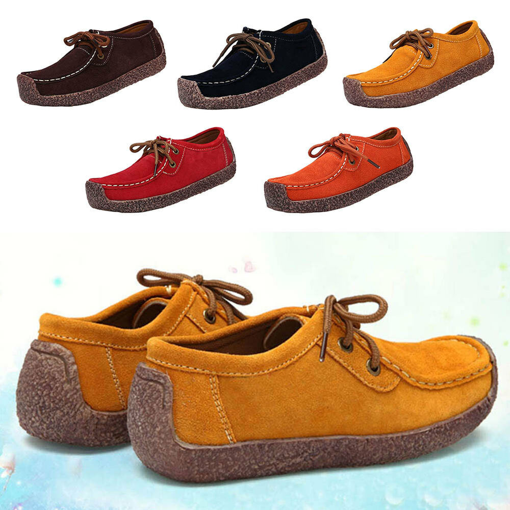 00d63277f0e1 Details about New Women Genuine Casual Leather Shoes Cosy Flats Hand-sewn Suede  Loafer Shoes