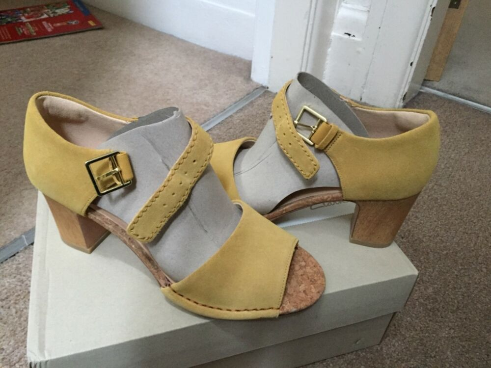 58eee1768b48 Womens Clarks Spiced Olivia yellow leather suede heel sandals size 5 bnib  new