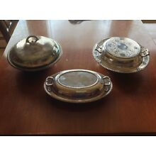Lot of 3 Vintage Silver Plated Serving Dishes w/ covers