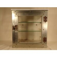 Vintage Metal Glass Wood Antiseptic Sterilizer Barber Counter Wall Cabinet Case