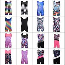 Kid Girl Shiny Gymnastics Leotards Sport Training Ballet Dance Unitard Tank Suit