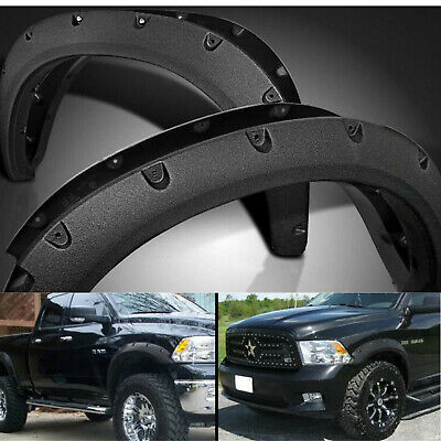 Black Pocket Style Rivet Bolt On Fender Flares Cover For 09-18 Dodge Ram 1500