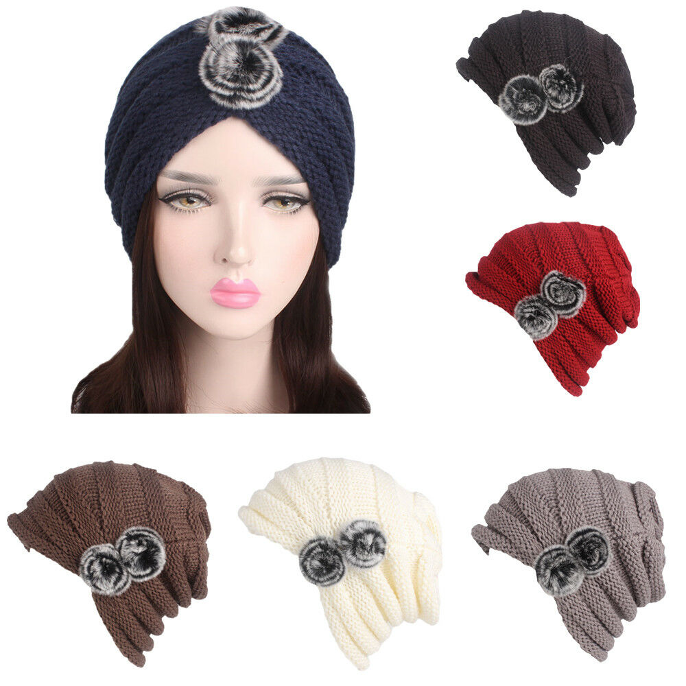 b642e59a1c7 Winter Women Ladies Warm Crochet Knit Knitted Wool Hat Fashion Turban Beanie  Cap