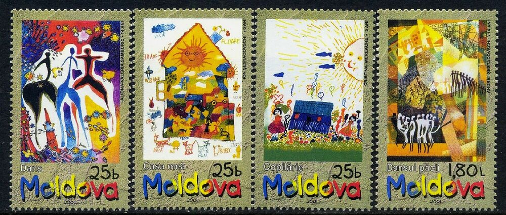 2001 Children  Day/Paintings,Bee,Cat,Dog,Cow,Dance,Fish,car,sheep,Moldova,390,MNH | eBay