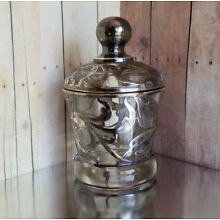 Antique Sterling Silver Overlay Glass slotted SUGAR BOWL Signed 56 & 62