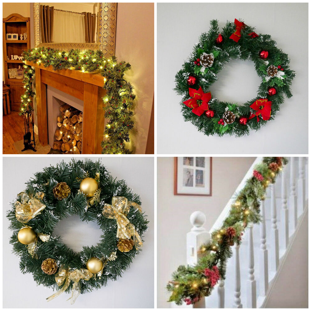 Snow Ice Effect Silver Gold Red Christmas Garlands Wreathes Decorated W Led Ebay