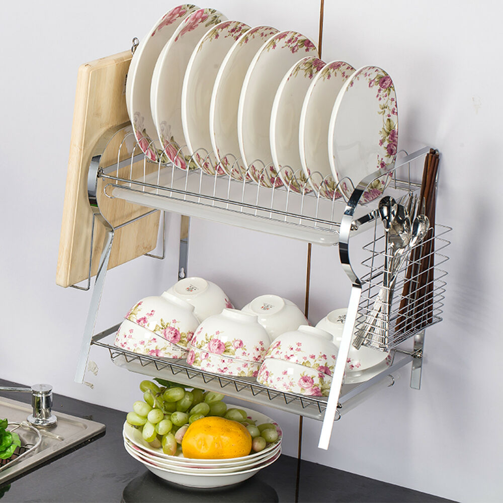 2 Tier Dish Drainer Rack Kitchen Chrome Wall Mounted Dish Drying