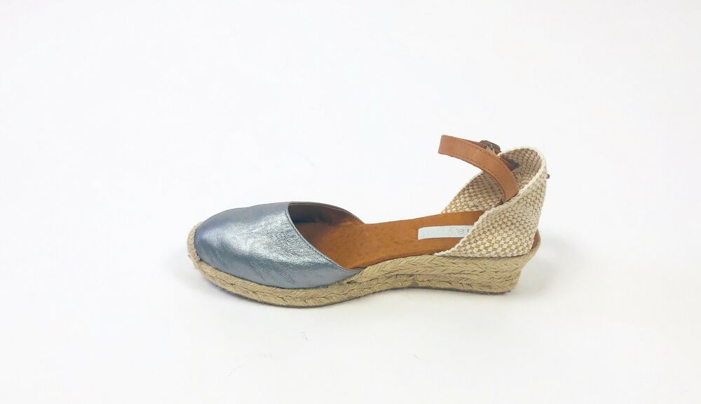 e2e75be82904c5 Details about Anthropologie Maypol Nantes Silver Espadrille Wedge Sandals  Shoes Size 40