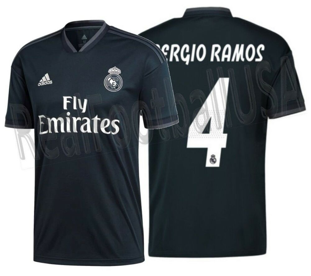 0971ef3d8fe Details about ADIDAS SERGIO RAMOS REAL MADRID AWAY JERSEY 2018 19.
