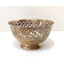 Wm Rogers & Son Silverplate Small Bowl Pedestal With Filigree Scroll Design