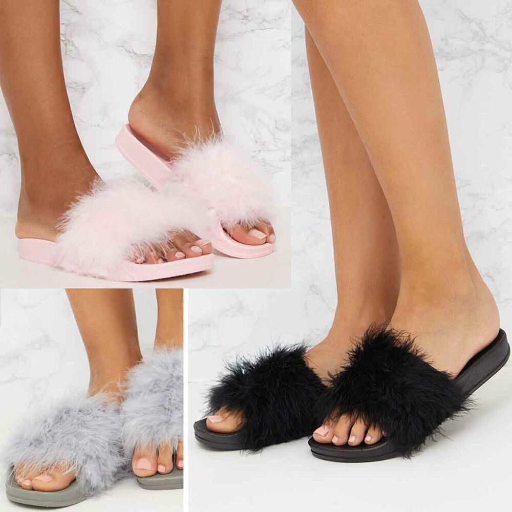 6eae6a5f4 Details about Womens Fluffy Feather Faux Fur Sliders Slides Casual Slip Mules  Slippers Sandals