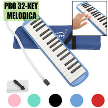 32 Key Melodica Instrument with Blowpipe Mouthpiece Air Piano Keyboard Bag Blue