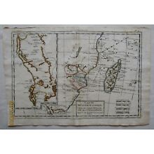 Map Madagascar, Mozambique Channel, East African Coasts SW Africa 1780 R. Bonne