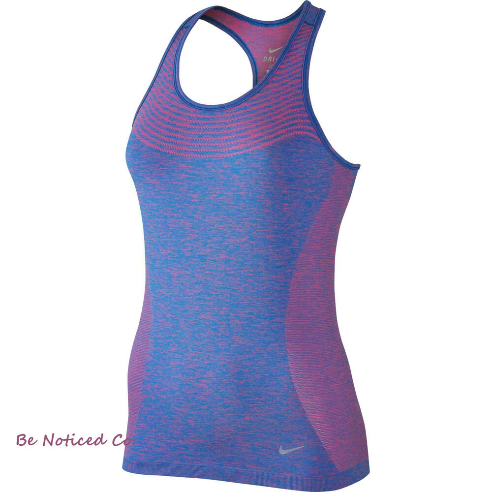 6bd74827f6400 Details about Nike Dri-FIT Knit Women s Running Tank Top XS Blue Pink Gym  Casual Running New