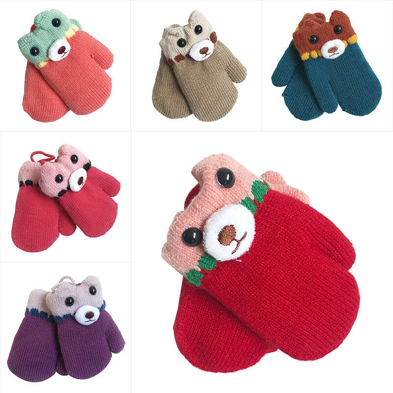 f01e77934 Infant Baby Girl Boy Bear Winter Warm Gloves Thick Fur Knitted ...