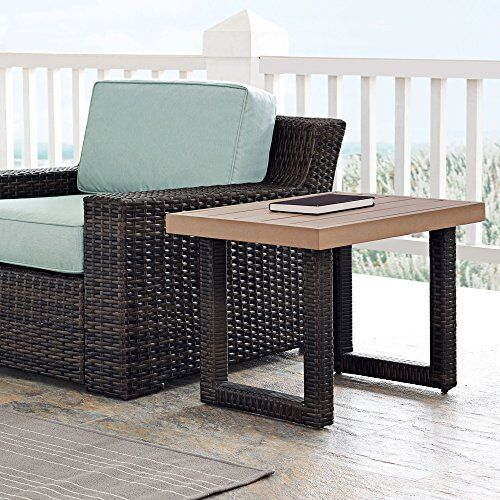 Details About Beaufort Faux Wood And Dark Brown Wicker Outdoor Side Table