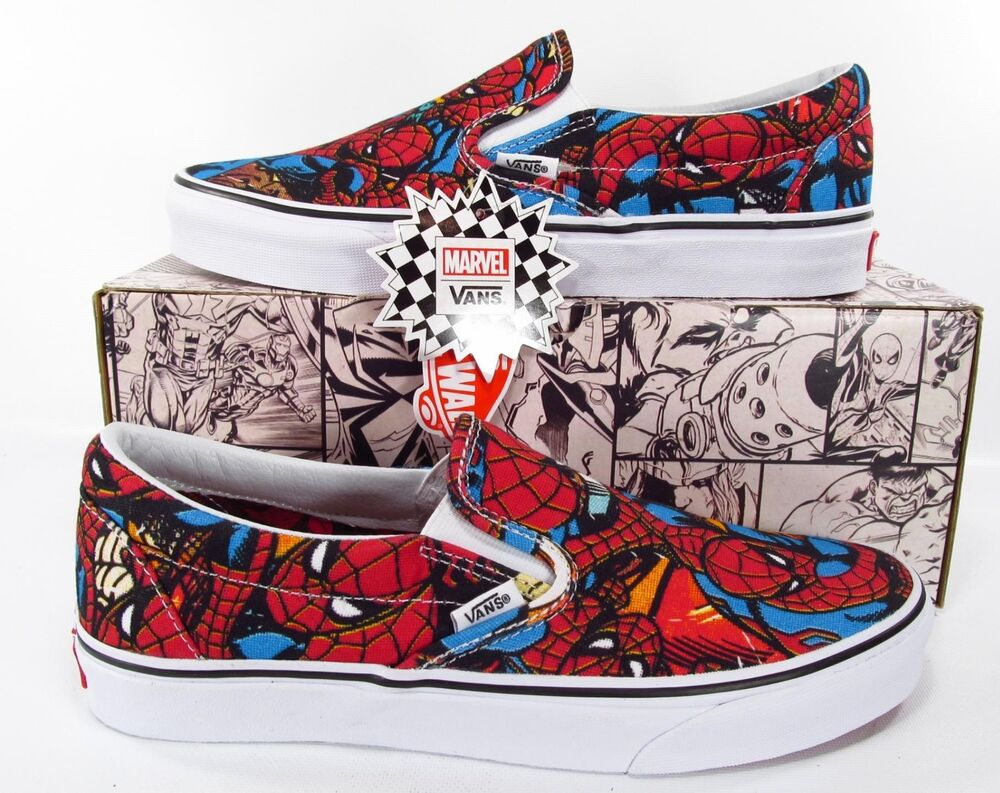 1043dad066c Details about Vans x Marvel Avengers Spiderman Classic Slip On Sneakers  Spider-Man Slip-On