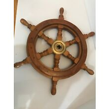 "Authentic Boat Ships Captains Nautical Ship Wheel 18"" Wooden Steering Wheel"