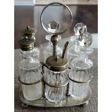 CA 1890 SLATER BROS ENGLISH HAND BLOWN 6 BOTTLE CRUET SET IN SILVERPLATE