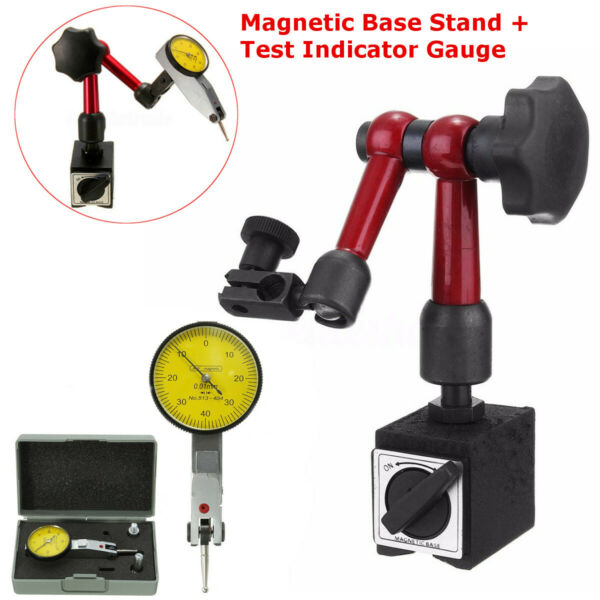Magnetic Base Holder Stand + Face Dial Test Indicator Gauge Scale Precision Set