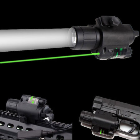 img-Hunting Green Laser Sight Scope + Q5 LED Flashlight Army Combo Picatinny Mount