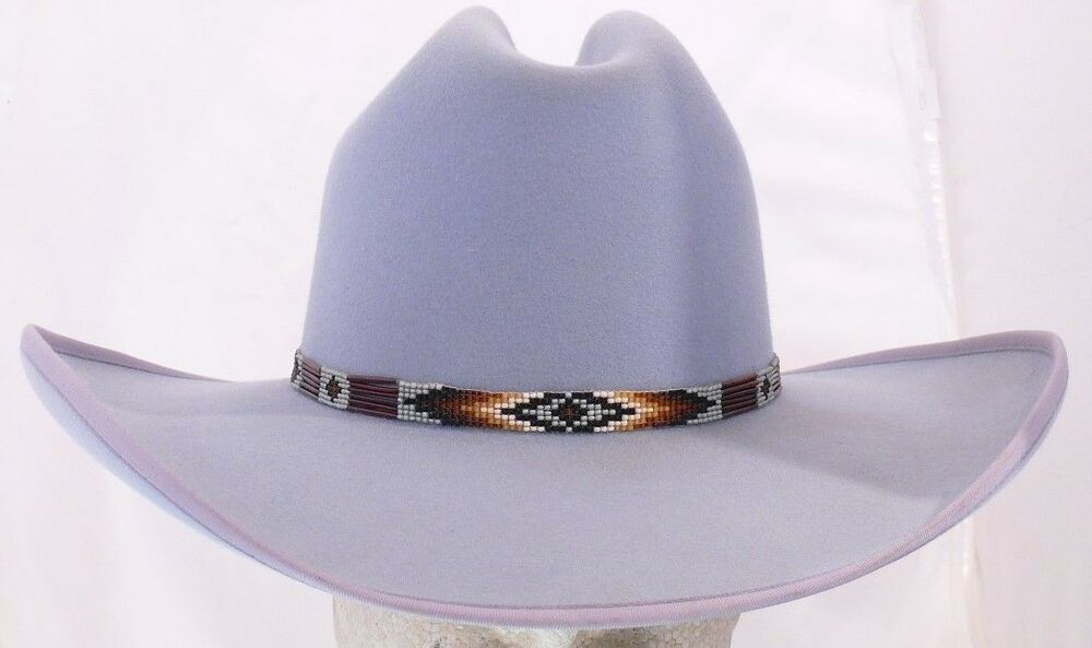 086334aac8b Details about Rand s Custom Hats Cattleman 10x - Chambray Blue w  beaded hat  band