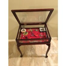 Vintage Real Glass & Wood Table Top Display Case
