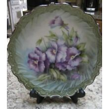 Stunning Hand Painted China Plate By Anne Michel ( Floral of Pansies) 8 1/4