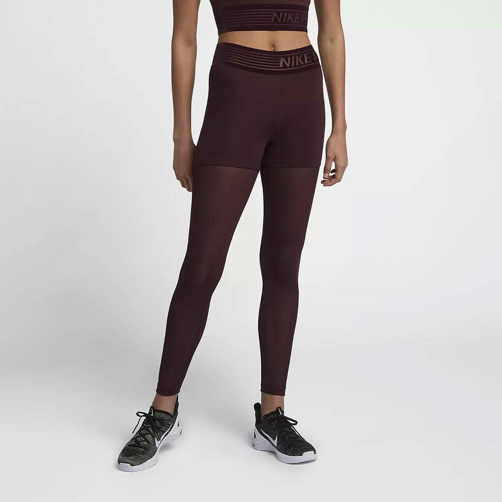 47c19a690f Nike Pro Deluxe Women's Mid-Rise Training Tights M L Burgundy Red Gym  Running | eBay