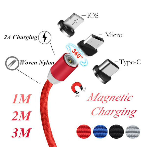 1~3M Magnetic Micro USB Charger Lead For iPhone X 8 7 6 2A Speed Charging Cable