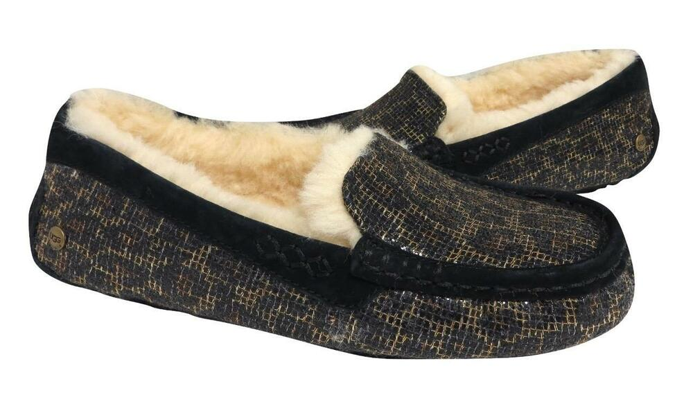 Details about New NIB Ugg Ansley Black Gold Glitter Leopard Moccasin  Slippers Suede Shearling 44688467f