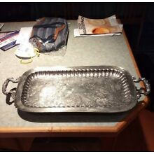 Post 1940 Silver-Plated Serving Tray with Handles