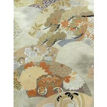 Cream Silk Vintage Obi w/ Stylized Folding Fans w/ Cranes, Winter/Fall Plants