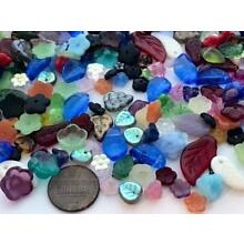 Pressed Czech Glass Flower Leaves Beads Mix 50