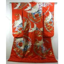 Glorious Red Uchikake Kimono w Embroidered of Cranes, Flowers, Iridescent Foil