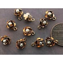 Vintage 7 x 9mm Layered Gold Tone Metal Flower w Pearl Charms Findings 10