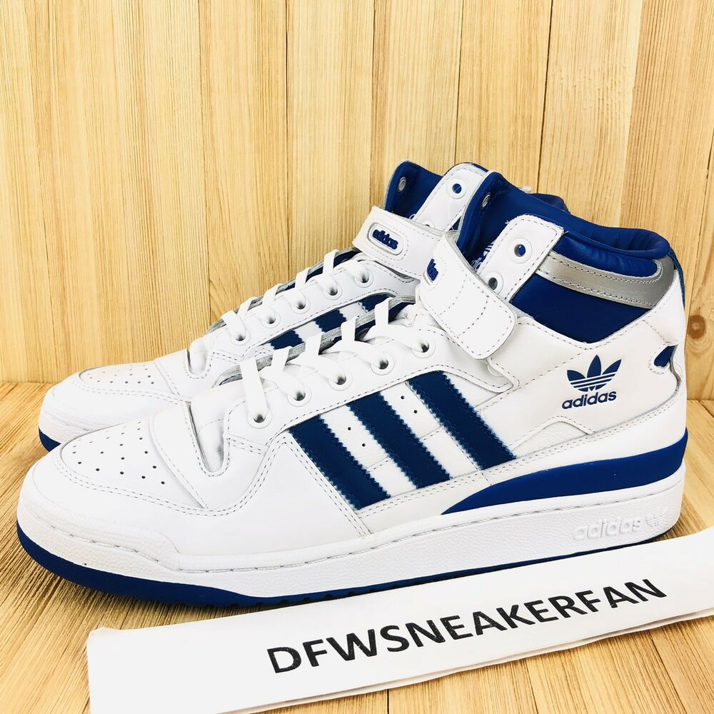 the best attitude e32e1 4cdf7 Details about Adidas Originals Forum Mid Refined Men Size 10 White Royal  Blue Silver F37830