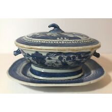 18th-19th C. Antique Canton Covered Tureen with Underplate, Boar's Head Handles