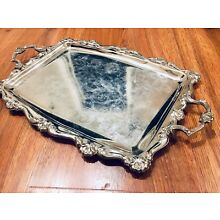Vintage HONG KONG Silverplate Rectangular Scrolled Serving Tray With Handles