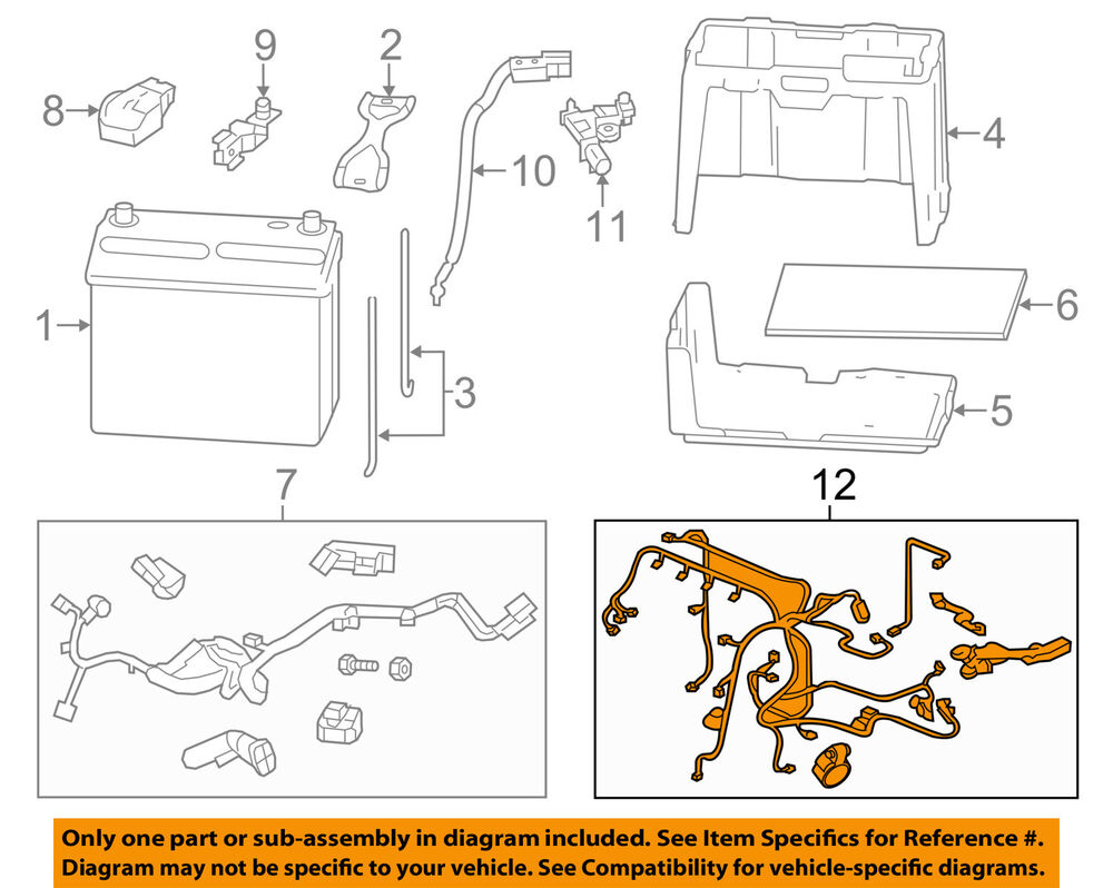 details about honda oem 12-13 civic 1 8l-l4 battery-engine wiring harness  32110r1aa53