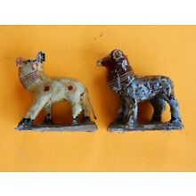 Two Rare Vintage Hand Carved Wooden Animals Figures Maybe Assyrian Goat Sheep