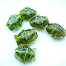 Green Glass Lampwork Striped Fish Beads (10)