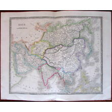 Asia Continent Arabia India China Japan Siam c.1842 Teesdale fine old map