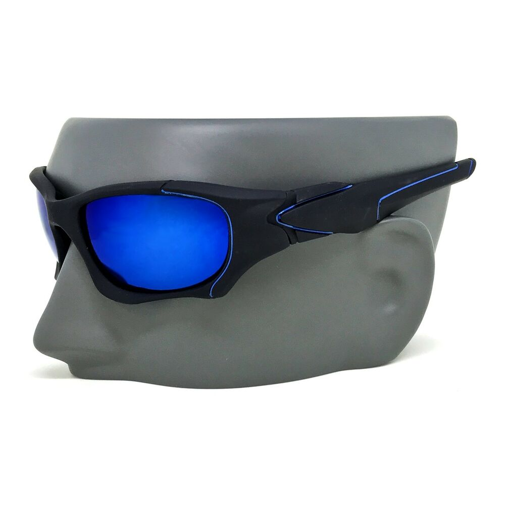 f843634253b Details about MENS MATTE BLACK SPORTY WRAP CYCLING FISHING HUNTING SUNGLASSES  MIRROR COLORS