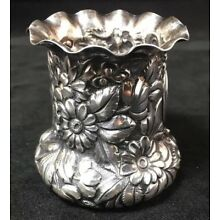 Repousse Sterling Silver Bud Vase / Toothpick Urn American