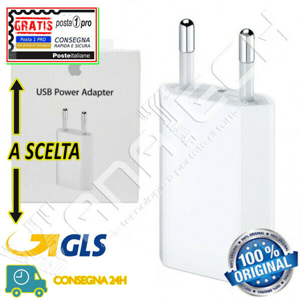 ALIMENTATORE CARICA BATTERIA ORIGINALE APPLE IPHONE 4 5 6 7 8 X XS XR MD813ZM/A