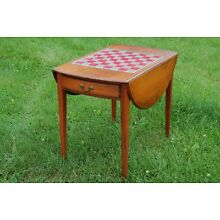 One Drawer Drop Leaf Game Table with Glass Covered Inset Chess Checkers Board